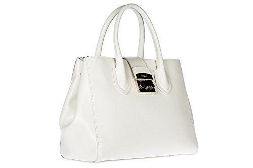 mano a donna metropolis Furla borsa shopping in bianco nuova pelle qfB74