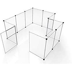 Tespo Pet Playpen, Portable Large Plastic Yard Fence Small Animals, Puppy Kennel Crate Fence Tent (Transparent White 12 Panels, 60x60x28 Inches)