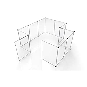 Tespo Dog Playpen, Portable Large Plastic Yard Fence Small Animals, Popup Kennel Crate Fence Tent, Transparent White 12… Click on image for further info.