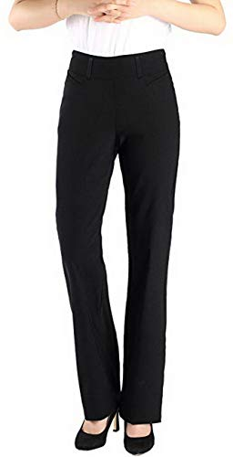 Vocni Women's Bootcut Stretch Elastic Waist Slim Fit Comfortable Pull on Dress Pants Full Ankle Length Trousers (XX-Large, Black)