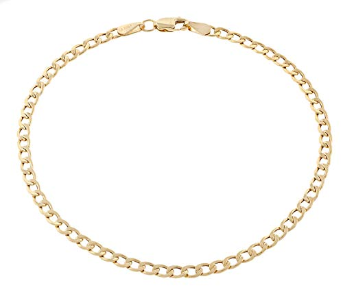 18K Solid Yellow Gold 3.5mm Cuban Curb Link Chain Bracelet- Made in Italy-18 Karat (7)