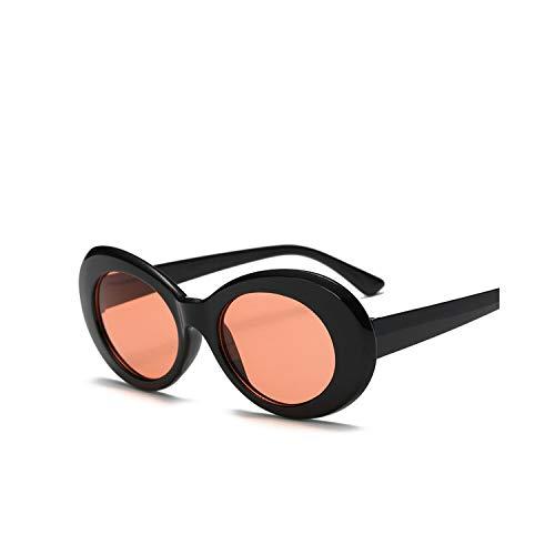 Women Oval Sunglasses Fashion NIRVANA Kurt Cobain Sunglasses Men Women Vintage Retro Female Male Clear Lens Sun Glasses Black Red (Best Lenses For Red Epic)