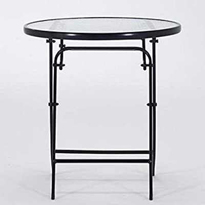 Fold Up Table Balcony Negotiation Round Table Tempered Glass