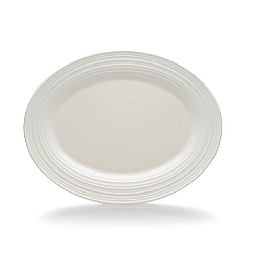 - Mikasa Swirl White Oval Serving Platter, 14-Inch