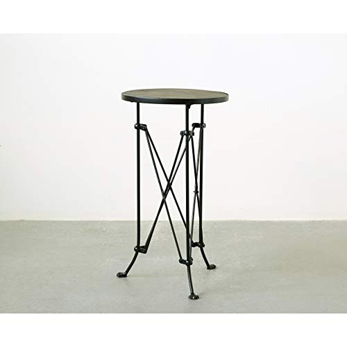 Creative Co-Op Metal Table with Pine Wood Top, 25 , Black