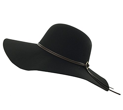 Womens Girls Wide Brim Floppy, Cloche Fedora With Ribbon Band,Bowler Caps ND-1 (Black) (Wide Floppy)