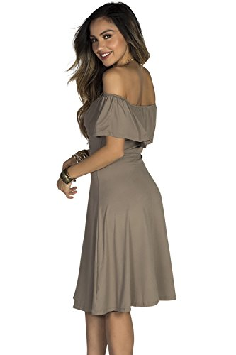 Off Jersey A Women's Ruffle Dress Taupe Society Babe Shoulder Line qftXEw5Ex