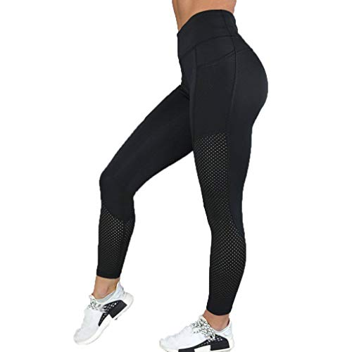 iHPH7 Pants High Waisted Leggings for Women - Opaque Slim Control Pants for Yoga Workout Running Exercise Running Nine-Point Yoga Pants (M,Black)