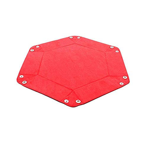 Star Spark PU Leather Hexagon Storage Tray Bar Nightclub Game Board Gift Dice Plate (Red)