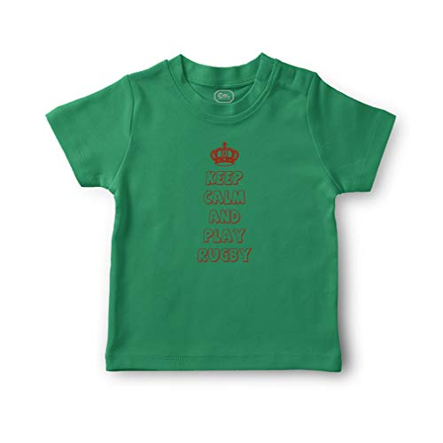 Cute Rascals Keep Calm and Play Rugby Short Sleeve Crewneck Toddler Boys-Girls Cotton T-Shirt Jersey - Kelly Green, 12 Months