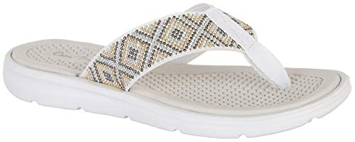 Coral Bay Womens Rexy Thong Sandals 8 White