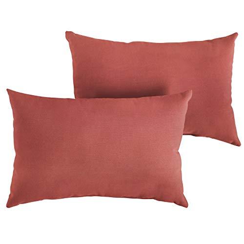 1101Design Sunbrella Canvas Henna Knife Edge Decorative Indoor/Outdoor Rectangle Lumbar Pillow, Perfect for Patio Decor - Terra Cotta 12