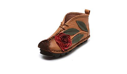 Giallo per rosa Flat Scarpe vintage 40 Verde a Stitching Colore fiore EU stivaletti Comodi Dimensione le ZHRUI donne TwfIw