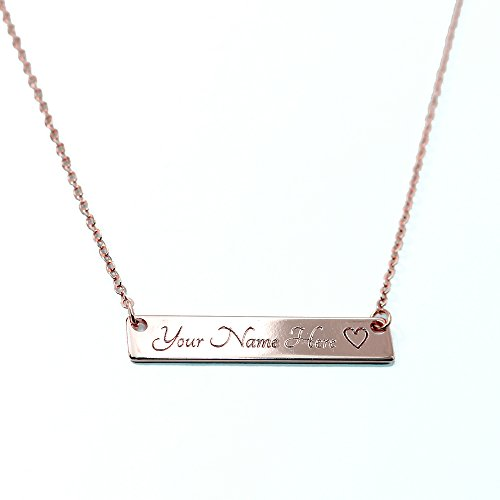 A Customizable Your Name Bar Necklace 16k Rose Gold -Plated Bar Engraving