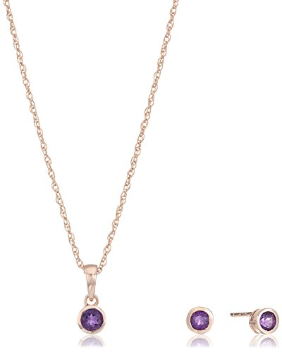 14k Amethyst Jewelry Set (Girls' Petite 14k Rose Gold Plated Sterling Silver African Amethyst Stud Earrings and 16