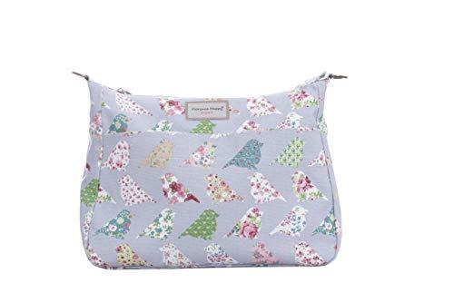 tracolla talpa fiore punto uccelli a Borsa a rosa tracolla a con di tela forma reversibile con tracolla in zip IRITq4wg