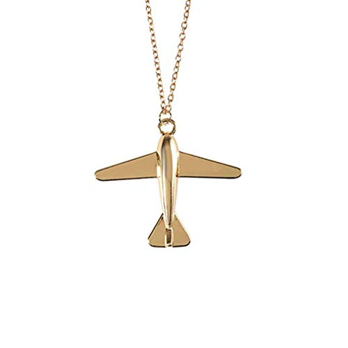 Windoson Fashion Women Necklaces Airplane Model Necklace Allergen-Free Necklaces Pendant Delicate Jewellery for Women and Girls Anniversary,Birthday (Gold) ()