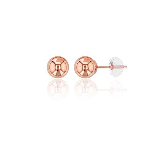 14K Rose Gold 6MM Ball Stud Earring