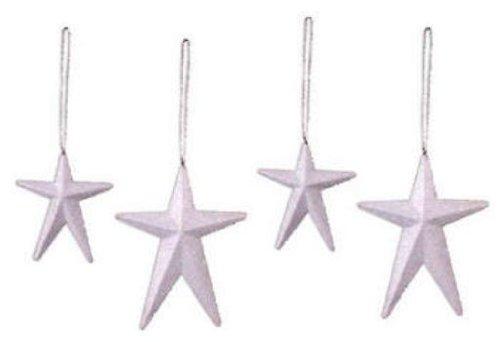 Ornament Rusty Star - Sunset Vista Designs Rusty Hinge Ornaments, White Stars, Set of 4