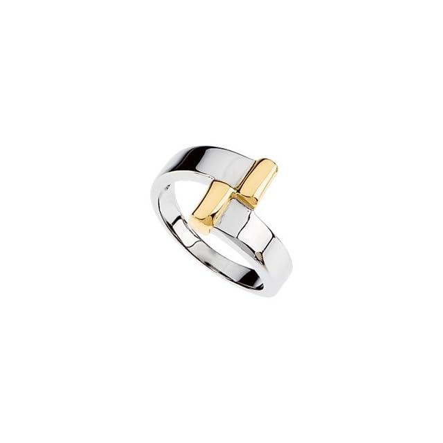 14K White Yellow Gold Two Tone Metal Fashion Ring, Size 6