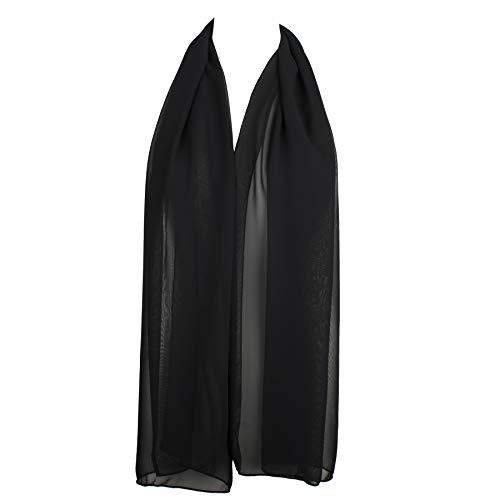 Sheer Fabric Black - HatToSocks Chiffon Scarf Sheer Wrap Voile Beach Sarong for Women - Black