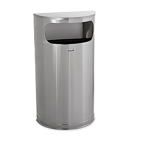 Rubbermaid Commercial European and Metallic Series Receptacle, Half-Round, 9 Gallons, Satin Stainless (6 Stainless Steel Trash Ring)