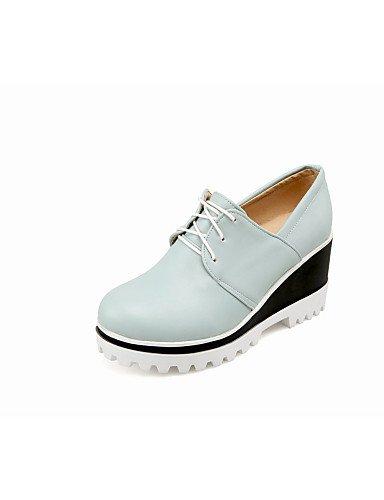 Zapatos Mujer negro Uk3 Azul cuñas 5 Uk4 Hug 5 tacones us6 5 Redonda Black Blanco Eu37 exterior us5 Eu36 De Punta Cn35 tacón semicuero Cuña Njx Blue Cn37 Rosa 5 5 7 tx5Yw