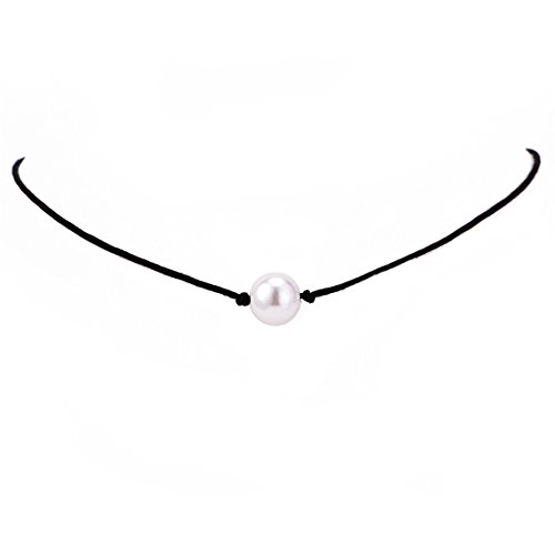 Rurah Women Imitation Pearl Choker Necklace Leather Cord for Women Handmade Choker Jewelry Gift