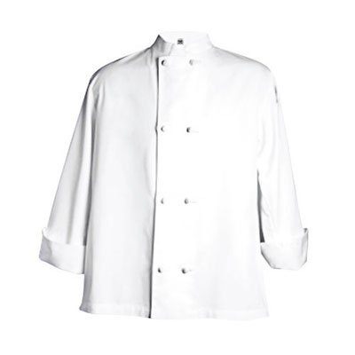 Chef Revival J050 24/7 Poly Cotton Blend Long Sleeve Unisex Cool Crew Jacket with Cloth Knot Bottons, Large, White by Chef Revival