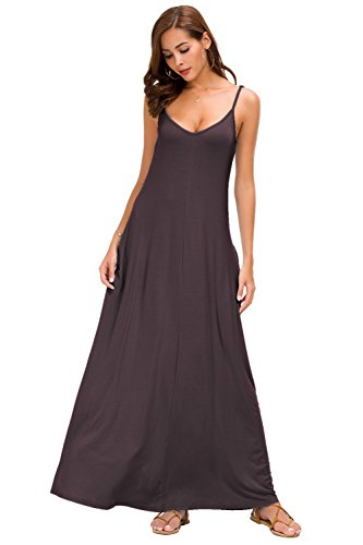 b4f2e25f4d8 Jug Po Women s Summer Casual Plain Swing Loose Beach Cami Maxi Dress with  Pockets (Small