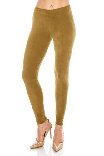 (ALWAYS Women Stretch Velvet Leggings - Premium Soft Velour Warm Winter Solid Basic Pants Gold Mustard Regular)