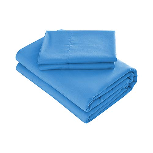 Prime Bedding Bed Sheets - 4 Piece California King Sheets, Deep Pocket Fitted Sheet, Flat Sheet, Pillow Cases - Blue
