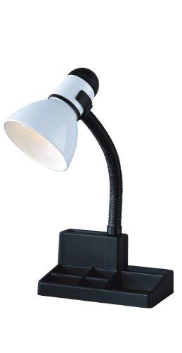 Lamp Black Table Column (Park Madison Lighting PMD-5616 Incandescent Organizer Desk Lamp with Adjustable Gooseneck Column, 8.5