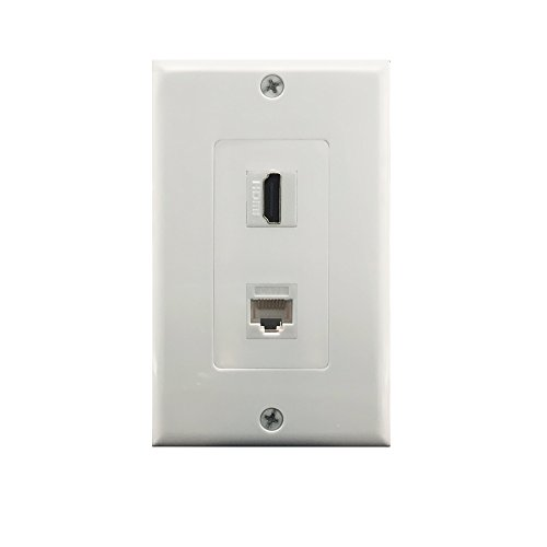 Yomyrayhu HDMI and Cat6 Ethernet RJ45 Wall Plate for HDTV