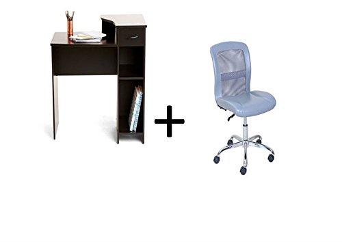 Mainstays Student Desk with Task Chair, Bundle Set (Black Student Desk + Gray Task Chair) by Mainstay