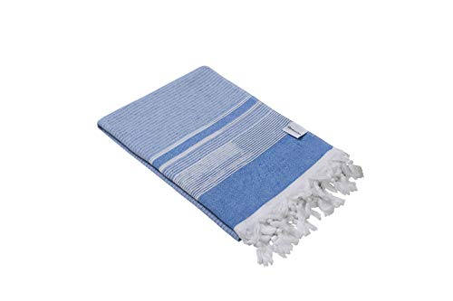 Side Terry - InfuseZen Ribbed Turkish Towel with Terry Cloth on One Side, Thin and Lightweight Bath or Beach Terry Backed Peshtemal, 100% Cotton Fouta with Ribbed Scrubbers (Blue)
