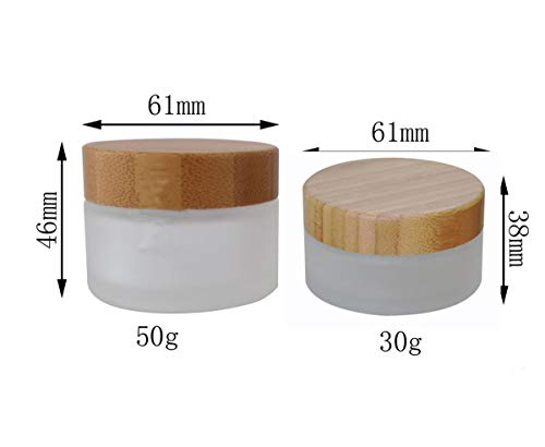 1PC Empty Refillable Clear Frosted Glass Bottle Cosmetic Container Pot Jars Vial Travel Packing with Natural Bamboo Lids and Inner Pad For Cream Lotion Ointments Lip Balm Eye Cream 30g/30ml/1oz