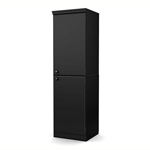 Cabinet Wood Narrow (South Shore Morgan Narrow Storage Cabinet, Pure Black)
