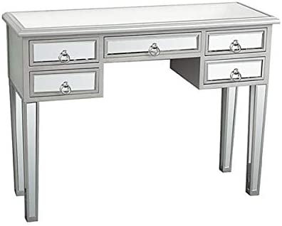"""Makeup Vanity Desk with 5 Drawers,Mirrored Console Table for Bedroom Room,Silver Reflective Finished Writing Desk for Women,Modern Makeup Dressing Table for Home Living Room,41.73""""X15.35""""X31.1"""""""