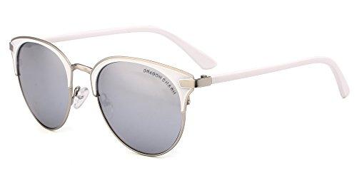 Glass Classic Charm - DRAGON CHARM Classic Cat Eye Sunglasses For Women Mirrored Retro Brand Glasses White Mirror Lens White Metal Frame