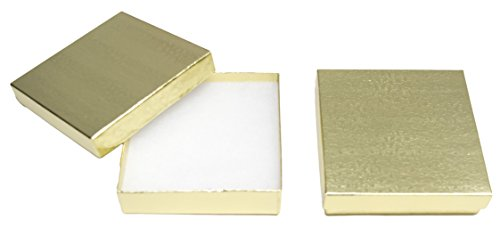 Floral Gold Jewelry Box (Novel Box MADE IN USA Jewelry Gift Box in Gold With Removable Cotton Pad 3.5X3.5X0.9