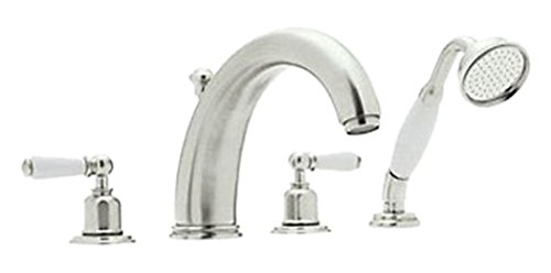 Tub Polished Brass European (Rohl U.3248L-PN Perrin And Rowe Roman Tub Faucet with Single Function Hand Shower A, Polished Nickel)