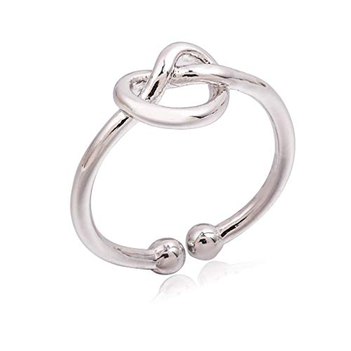 Orcbee  _Simple Knot Open Adjustable Ring Gift for Women (Silver) (Open Knot Ring)