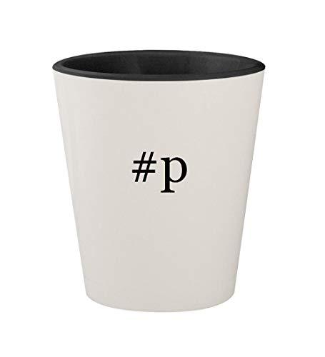 Unforgivable Black Cologne - #p - Ceramic Hashtag White Outer & Black Inner 1.5oz Shot Glass