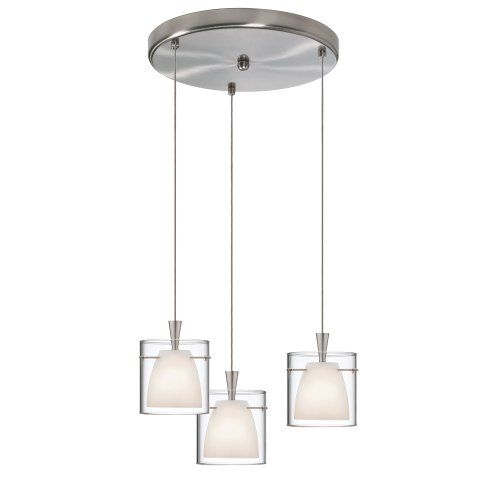 Clear Satin Gold Pendant (Dainolite Lighting DLSL309-12R-WH-SC 3-Light Round Pendant, White Frosted and Clear Glass, Satin Chrome Finish)