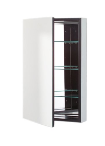 (Robern PLM2430B PL Series Flat Plain Mirrored Door, 23-1/4-Inch W by 30-Inch H by 3-3/4-Inch D, Black Interior)