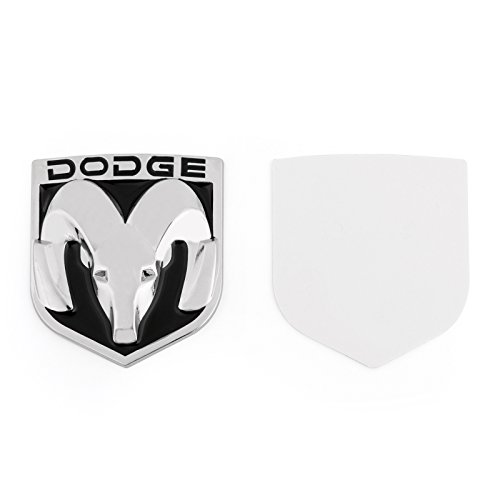 Areyourshop Head Grill Emblem Badge Sticker Decal Chromed Metal For Dodge Ram 7.8x8.8CM(3.07x3.46Inch), Black