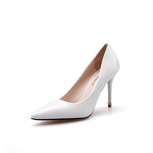 Nogajoe Women's Sitrible High Thin Heel Patent Leather Pointed Toe Wedding Pumps White 4M US (34M EU)