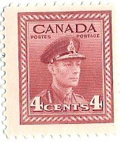 Stamp 4 Cents KGVI Carmine Scott# 254 ()