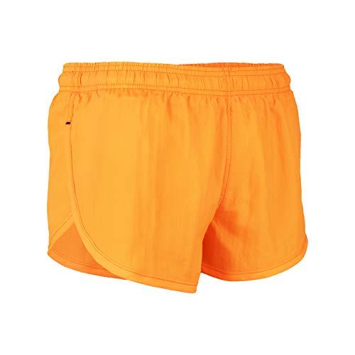 VBRANDED Men's Side Split Running Shorts with Mesh Linen Medium Neon Orange (Womens Split Running Shorts)